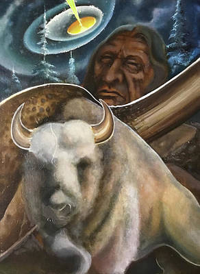 Painting - White Buffalo by Danny Frost