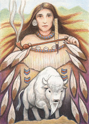 Atc Drawing - White Buffalo Woman by Amy S Turner