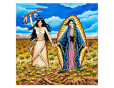 White Buffalo Woman And Guadalupe Art Print by James Roderick