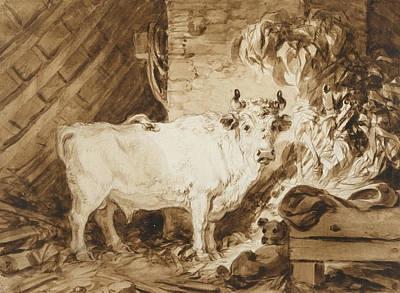French Bull Dog Wall Art - Drawing - White Bull And A Dog In A Stable by Jean-Honore Fragonard