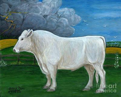 Polish Folk Art Painting - White Bull by Anna Folkartanna Maciejewska-Dyba