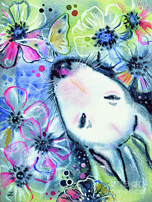 Painting - White Bull Terrier And Butterfly by Zaira Dzhaubaeva