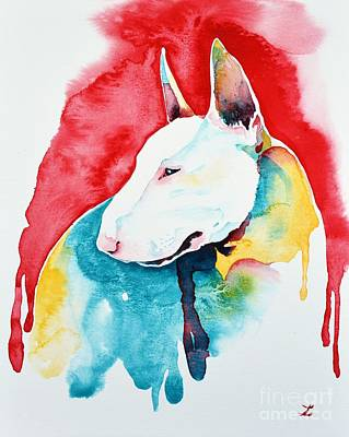 Painting - White Bull Terrier by Zaira Dzhaubaeva