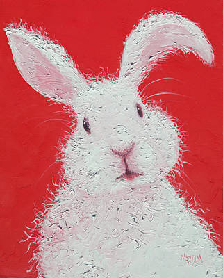 Rabbit Painting - White Bunny by Jan Matson