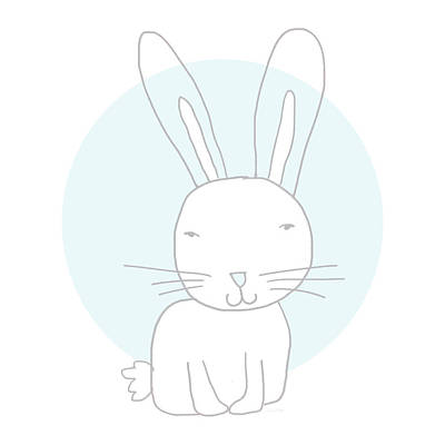 White Bunny On Blue- Art By Linda Woods Art Print