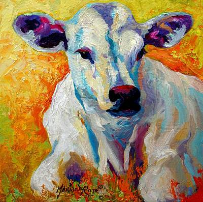 Rural Scenes Painting - White Calf by Marion Rose