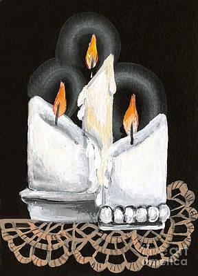 White Candle Trio Art Print by Elaine Hodges