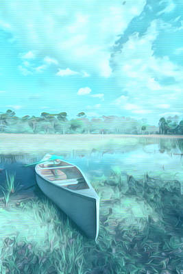Photograph - White Canoe In Aqua Watercolors Painting by Debra and Dave Vanderlaan