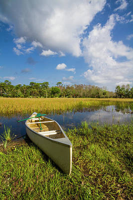 Photograph - White Canoe In The Glades  by Debra and Dave Vanderlaan