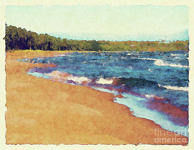 Marquette Digital Art - White Caps On Lake Superior by Phil Perkins