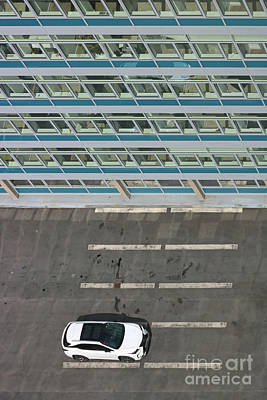 Photograph - White Car And Tower Block1 by Julia Gavin