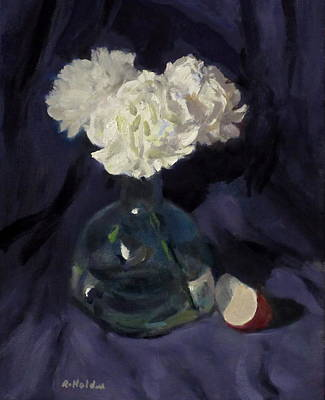 Painting - White Carnations And Apple Slice by Robert Holden