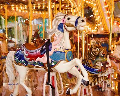 Impasto Mixed Media - White Carousel Horse Impasto Painting by Garland Johnson