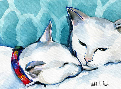 Painting - White Cat Affection by Dora Hathazi Mendes