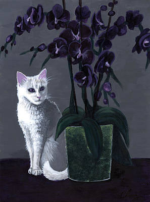 Painting - Little White Cat With Purple Orchids by Long Studios