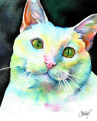 Art Print featuring the painting White Cat by Christy Freeman