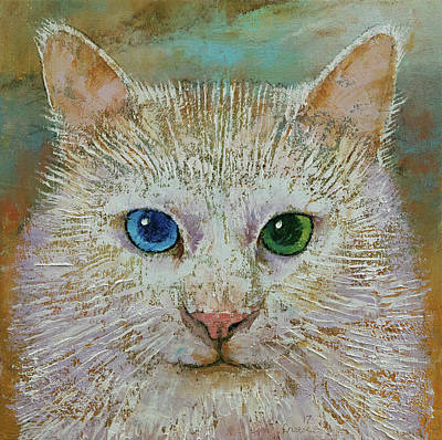 Turkish Painting - White Cat by Michael Creese