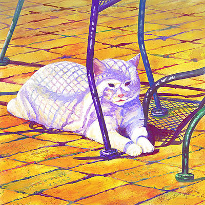 Painting - White Cat On Patio by Connie Williams