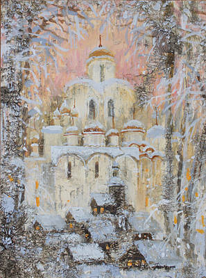 Painting - White Cathedral Under Snow by Ilya Kondrashova