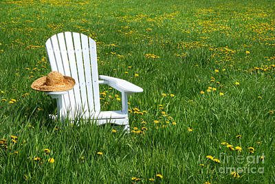 White Chair With Straw Hat Art Print