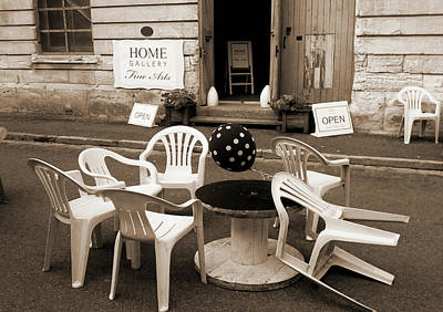 Photograph - White Chairs In Sepia by Nareeta Martin