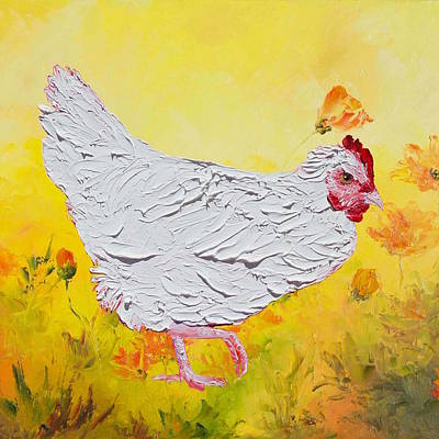 White Chicken On Yellow Floral Background Art Print by Jan Matson