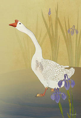 Digital Art - Chinese White Swan Goose by IM Spadecaller