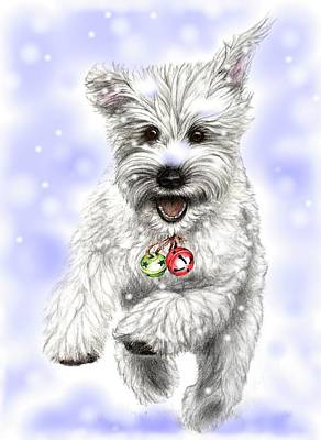 White Christmas Doggy Art Print by Heidi Kriel