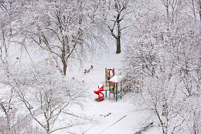 Photograph - White Christmas Red Playhouse by Charline Xia