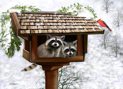 Raccoon Digital Art - White Christmas by Thanh Thuy Nguyen