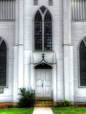 Photograph - White Church Door by Leslie Montgomery