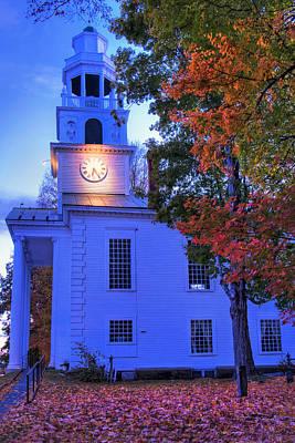 Fall Scenes Photograph - White Church In Autumn At Sundown - Windsor Vermont by Joann Vitali