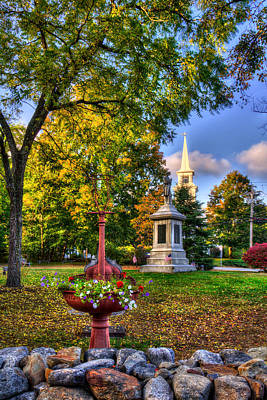Autumn Scene Photograph - White Church In Autumn - Hopkinton Nh by Joann Vitali