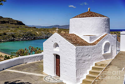 Photograph - White Church In Lindos, Rhodes, Greece by Global Light Photography - Nicole Leffer