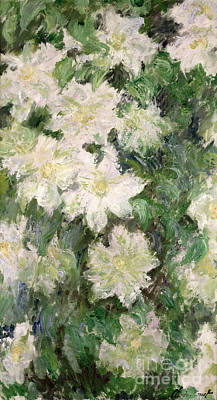 White Flowers Painting - White Clematis by Claude Monet