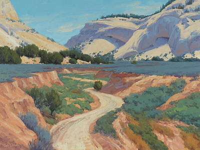 Utah Wall Art - Painting - White Cliffs Of Johnson Canyon 18x24 by Cody DeLong