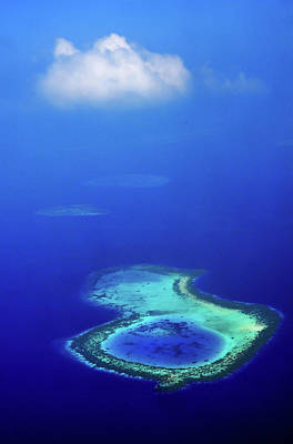 Photograph - White Cloud Over Coral Reef. Aerial Journey Around Maldives by Jenny Rainbow