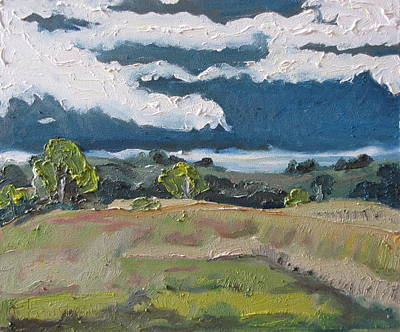 Eastern Townships Painting - White Clouds On A Covered Sky Ascot Corner Quebec Canada by Francois Fournier