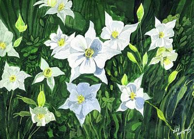 Longwood Gardens Painting - White Colombines by Jeff Blazejovsky