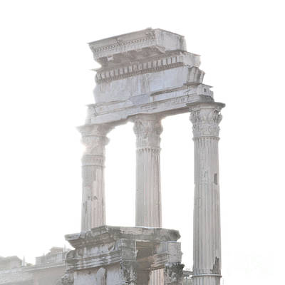 Column Photograph - White Columns Temple Of Castor And Pollux In The Forum Rome Italy by Andy Smy