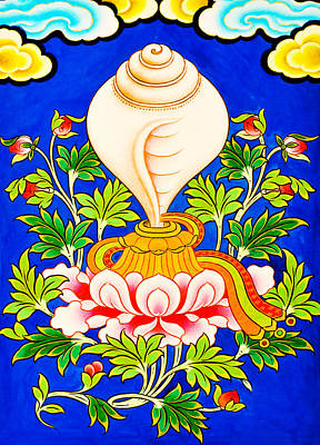 Vajrayana Painting - White Conch by Lanjee Chee
