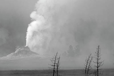 Photograph - White Cone Geyser Black And White by Bruce Gourley