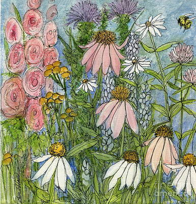 Drawing - White Coneflowers In Garden by Laurie Rohner
