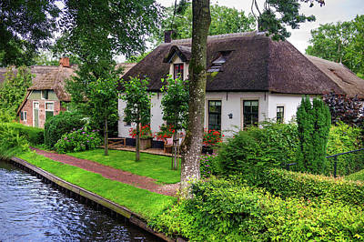 Photograph - White Cottages At The Canal In Giethoorn. The Netherlands by Jenny Rainbow