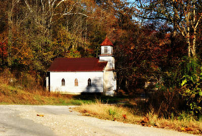 Old Country Roads Photograph - White Country Church  by Chastity Hoff