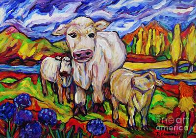 Painting - White Cow And Twin Calves by Dianne Connolly