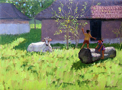 Sit-ins Painting - White Cow And Two Children by Andrew Macara