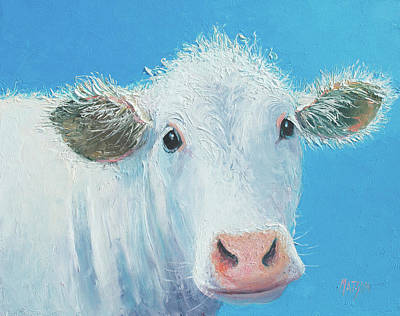 Painting - White Cow by Jan Matson