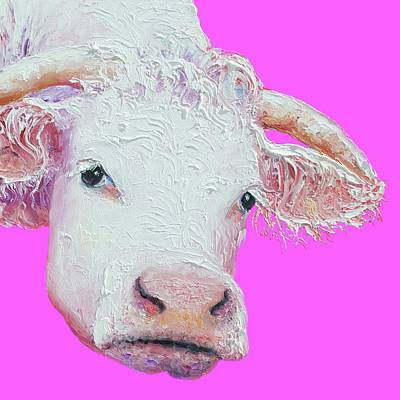 Painting - White Cow On Pink Background by Jan Matson