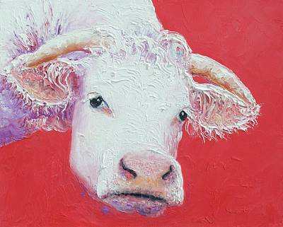 Painting - White Cow With Horns by Jan Matson